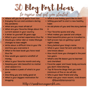 30 blogging prompts